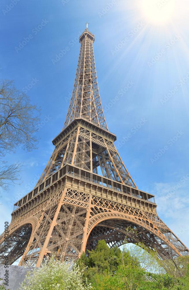 Fototapety, obrazy: eiffel tower in Paris under sunny blue sky
