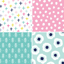 Vector Set Of 4 Seamless Abstract Backgrounds In Pink And Mint. Minimal Scandinavian Style Designs For Girls, Baby Shower, Birthday, Scrapbook, Cards, Textiles, Gift Wrapping Paper, Surface Textures.