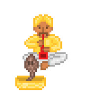 Male Indian Snake Charmer In Yellow Costume And Turban Sitting And Playing Pungi To Hypnotize A Cobra In A Basket, 8 Bit Pixel Art Character Isolated On White. Retro Video Game/slot Machine Graphics.