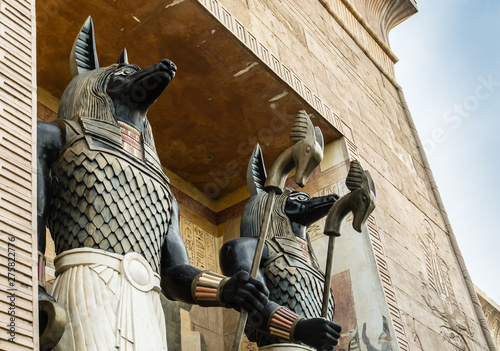 Egypt vintage style the Anubis figure detail view Wallpaper Mural
