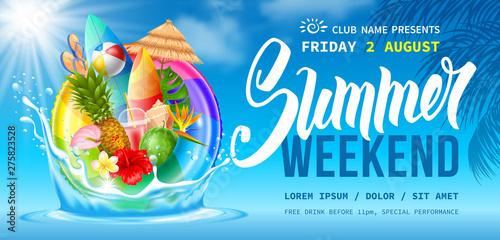 Obraz Summer Weekend Party Flyer Template - fototapety do salonu