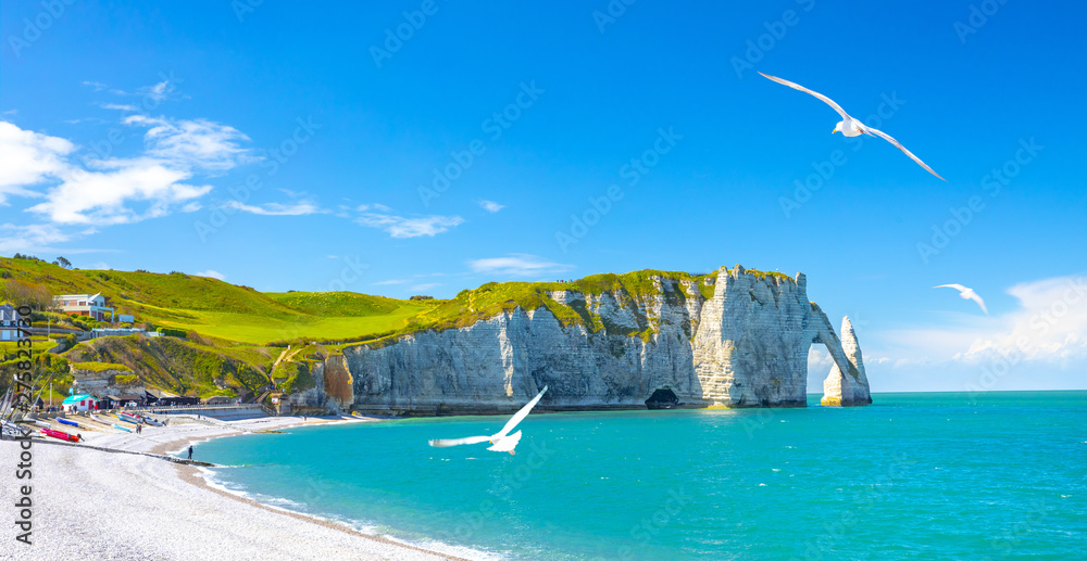 Fototapety, obrazy: Coastal landscape along the Falaise d'Aval the famous white cliffs of Etretat village with the Porte d'Aval natural arch and the rock known as the Aiguille d'Etretat. France