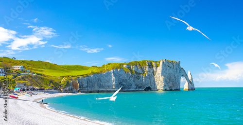 Obraz Coastal landscape along the Falaise d'Aval the famous white cliffs of Etretat village with the Porte d'Aval natural arch and the rock known as the Aiguille d'Etretat. France - fototapety do salonu