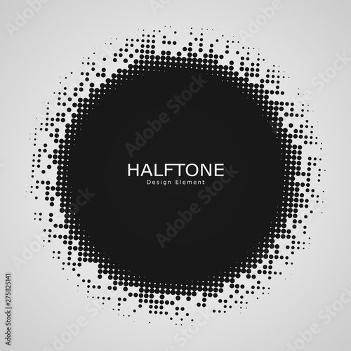 Halftone element isolated on white background. Circular halftone pattern. Radial gradient. Vector illustration  Wall mural