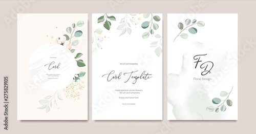 Fotografía  Set of card template with herbs, leaves