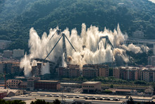 The Implosion Of What Remained Of The Morandi Bridge In Genoa