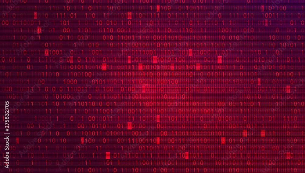 Fototapeta Digital Binary Code on Red BG. Cybercrime Concept