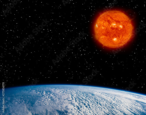 Tuinposter Heelal Earth and burning sun. Big star. The elements of this image furnished by NASA.