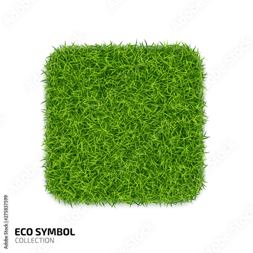 Square icon from green grass  Eco rectangle icon isolated on