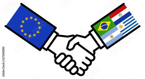 Fotografía  EU MERCOSUR business deal, free trade agreement, handshake