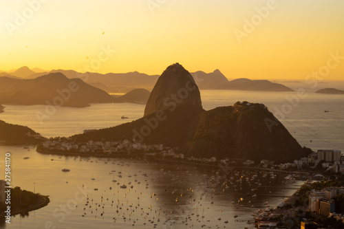 Dawn in the city of Rio de Janeiro, Guanabara Bay and Sugar Loaf!  observatory D Wallpaper Mural