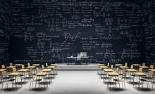 Modern Classroom With Math Formulas