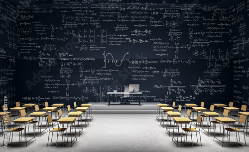 Obraz Modern classroom with math formulas - fototapety do salonu