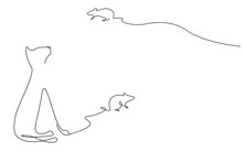 Cat Play With Mouse Toy, Domestic Animal One Line Drawing Vector Illustration