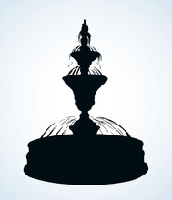 Old Round Fountain. Vector Dra...
