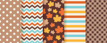 Autumn Pattern. Vector. Seamless Background With Fall Maple Leaves, Polka Dot, Zig Zag And Stripes. Set Seasonal Geometric Textures. Abstract Wallpaper. Colorful Cartoon Illustration In Flat Design.