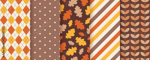 Fototapeta Autumn pattern. Vector. Seamless background with fall oak leaves. Set seasonal geometric textures. Colorful cartoon illustration in flat design. Abstract wallpaper. obraz