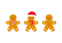 Gingerbread Man. Christmas Icon. Vector. Holiday Winter Symbols Isolated On White Background In Flat Design. Cartoon Colorful Illustration