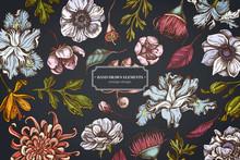 Floral Design On Dark Background With Japanese Chrysanthemum, Blackberry Lily, Eucalyptus Flower, Anemone, Iris Japonica, Sakura