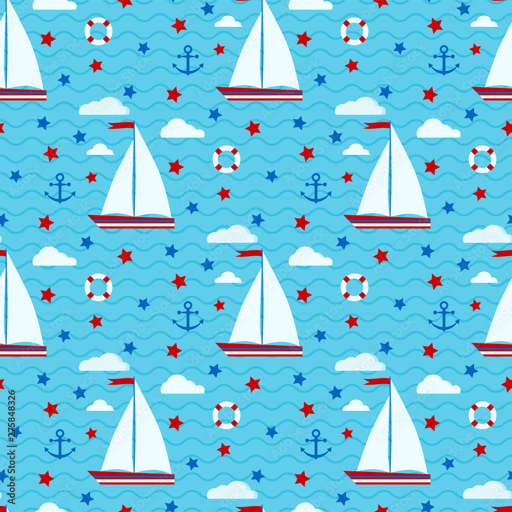 Marine cute vector seamless pattern with sailboat, stars, clouds, anchor, lifebuoy on the background of the sea with waves. Endless texture. Background for web, covers, decoration, children's design.