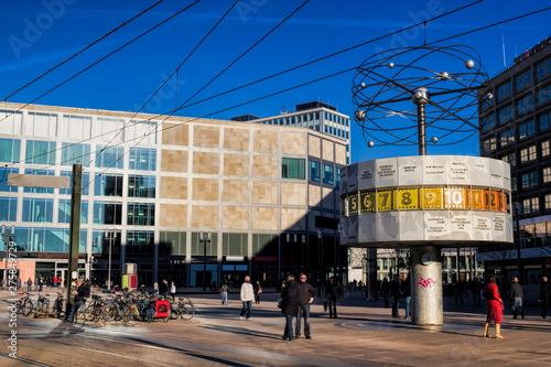 alexanderplatz mit weltzeituhr in berlin, deutschland Canvas Print