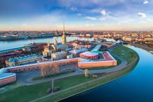 Saint Petersburg. Russia. Panorama Of St. Petersburg. Peter And Paul Fortress Top View. Rabbit Island. Vasilyevsky Island. Neva River. Bridges Of St. Petersburg. Travel To Russia.