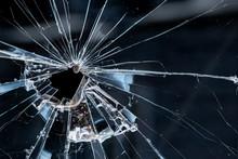 Closeup Of A Broken Window. Cr...