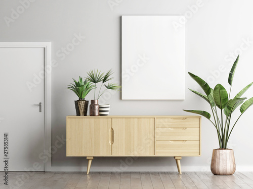 Fotografering Poster above sideboard in living room with plants, 3d render, 3d illustration