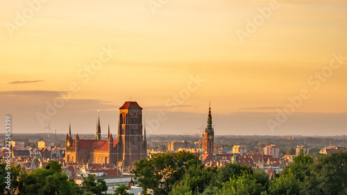 Amazing cityscape of Gdansk, St. Mary's Basilica at the sunrise.