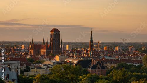 Amazing cityscape of Gdansk, St. Mary's Basilica at the sunrise.