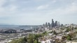 Cinematic Drone Aerial Approaching Seattle Usa Downtown Buildings Over Parks and City Road Car Traffic