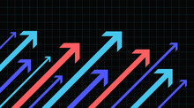 Financial Arrow Graph On A Black Background Going Up. Vector Illustration.