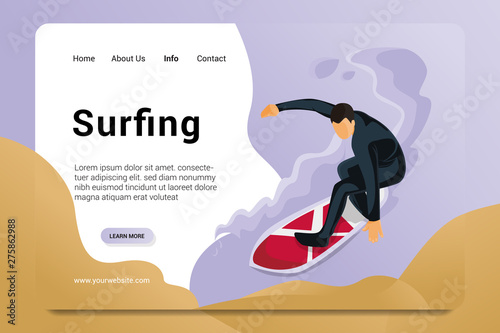 surfing landing page background vector Wallpaper Mural