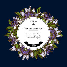 Badge Over Design With Passion Flower