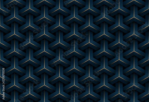 Abstract seamless luxury dark blue and gold geometric pattern background