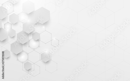 Obraz Abstract white and grey geometric technology digital hi tech concept and Futuristic design background - fototapety do salonu
