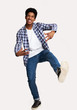 canvas print picture - Just Having Fun. Excited Guy Jumping Against White Background