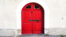 Red Door Of An Old House, In Bergell