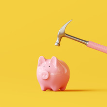 Pink Piggy Bank With Hammer On Yellow Background. 3d Rendering