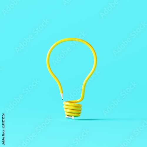 Fotomural Light bulb made of pencil on blue background