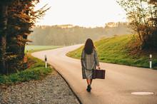 Beautiful Woman Walking Away D...