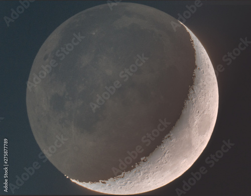 Moon in ashen light Canvas Print