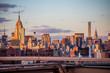 Sunset in Manhattan, seen from the Brooklyn Bridge in New York.