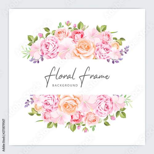 Poster Fleur beautiful wedding and invitation bouquet template
