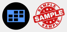 Rounded Grid Cells Pictogram And Sample Stamp. Red Rounded Textured Seal Stamp With Sample Caption. Blue Grid Cells Icon On Black Circle. Vector Composition For Grid Cells In Flat Style.