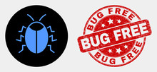 Rounded Bug Icon And Bug Free Seal Stamp. Red Rounded Grunge Stamp With Bug Free Caption. Blue Bug Icon On Black Circle. Vector Composition For Bug In Flat Style.
