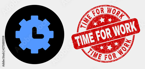 Rounded Clock Settings Icon And Time For Work Stamp Red Rounded Scratched Seal Stamp With Time For Work Caption Blue Clock Settings Symbol On Black Circle Buy This Stock Vector And