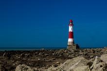 Beachy Head Lighthousew With Deep Blue Sky