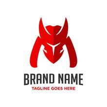 Logo Design Letter M Horn