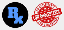 Rounded Rx Symbol Icon And Low Cholesterol Watermark. Red Rounded Grunge Watermark With Low Cholesterol Caption. Blue Rx Symbol Icon On Black Circle. Vector Composition For Rx Symbol In Flat Style.
